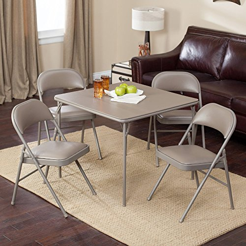 MECO Sudden Comfort Deluxe Double Padded Chair and Back – 5 Piece Card Table Set – Chickory Beige