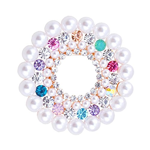Rhinestones Brooch and Imitation Pearl Brooches for Female Pins Women Hajib Pin Tips for Collar (Multicolor) from 89LOOK-Brooch