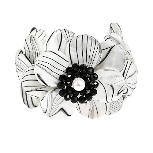 AeraVida Zebra Painted Mother of Pearl Shell Cluster Flower Cuff Bracelet