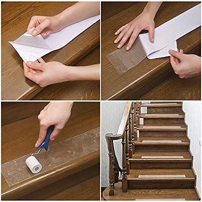 evita resbalones seguridad para ni/ños ancianos y mascotas Apark cinta antideslizante exterior kit de f/ácil instalaci/ón, cinta de escalera para interior 61 x 10 cm 12 unidades