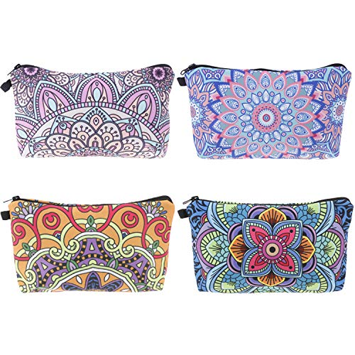 4 Pcs Makeup Bag Cosmetic Bag Toiletry Pouch Waterproof Travel Makeup Bag with Mandala Flowers Patterns,Black Zippers