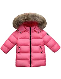 QJH Boys Girls' Winter Parka Coat Puffer Padded Overcoat With Fur Hood