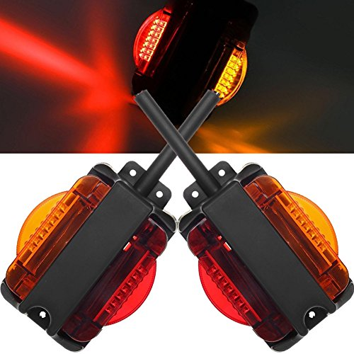 (NEW SUN LED Marker Trailer Fender Lights Set - Dual Face LED Clearance Lights for Truck Red and Amber Light 7 LEDs)