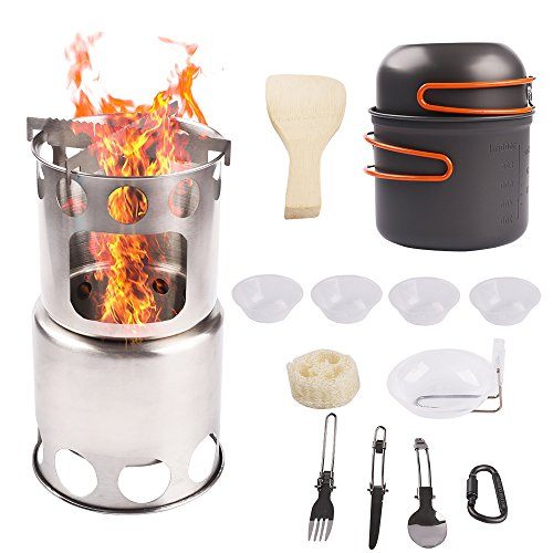 Wood Burning Stove Kit - Camp Stove Cookware Combo Stainless Steel Wood Burning Ultralight Portable Backpacking Cook Set for BBQ Hiking Picnic Outdoors