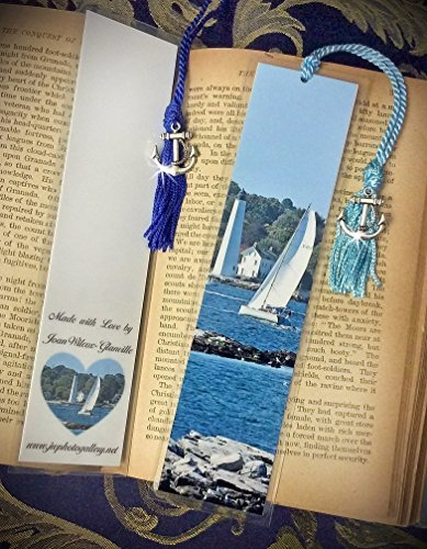 New London Connecticut Lighthouse and Sailboat CT Boating Laminated Bookmark w/Silver Tone Anchor Charm Fine Art Photography Bookmark ()