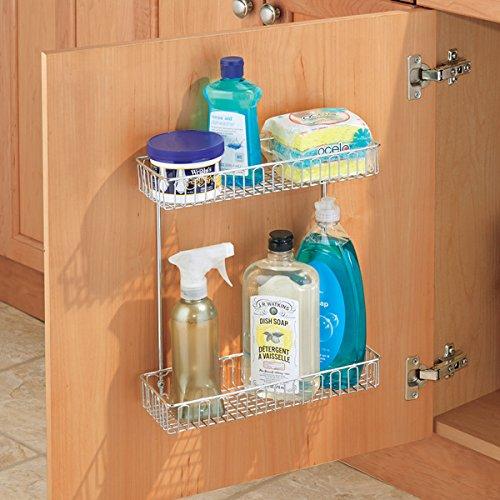 mDesign Under-Sink Storage Organizer Shelf for Dish Soap, Sponges, Brushes - Wall/Cabinet Mount, 2-Tier, Chrome