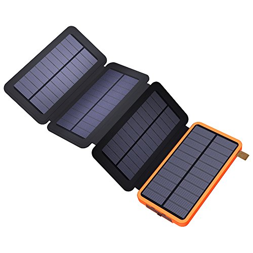 Solar Power Bank, X-DRAGON Solar Charger with Foldable Panel 10000mAh Portable Rugged Shockproof Dual USB Solar Battery Charger for iPhone, Samsung Galaxy ipad and More-Orange