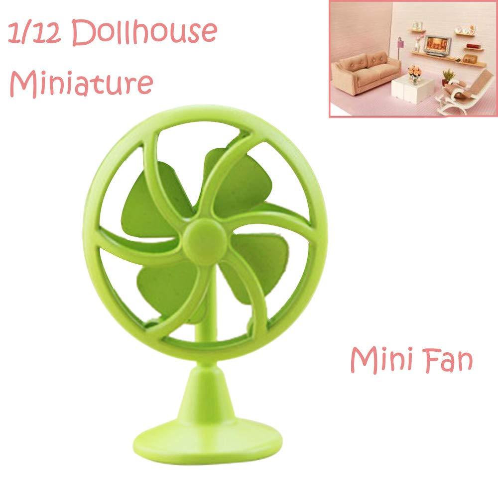 Binory Mini Old Fashioned Lobby Fan for 1/6 1/12 Dollhouse Furniture,Fashion Modern Design Miniature Home Living Room Kids Pretend Toy,Creative Birthday Handcraft Gift(Green)
