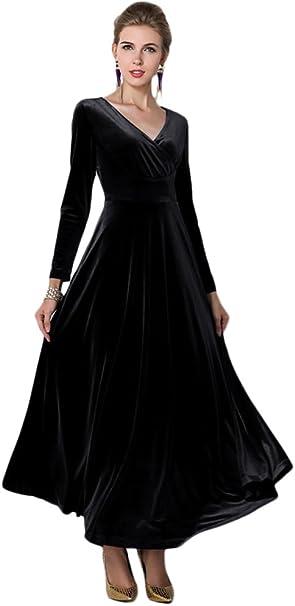 Amazon.com: EXCHIC Vestido largo de terciopelo elegante para ...