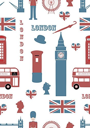 Quality Prints - Laminated 36x24 Vibrant Durable Photo Poster - London Icons Symbols Landmark Wallpaper Background Paper Travel Design Tourism Set Bus Red Big Ben Flag Union Jack Queen Head Soldier ()
