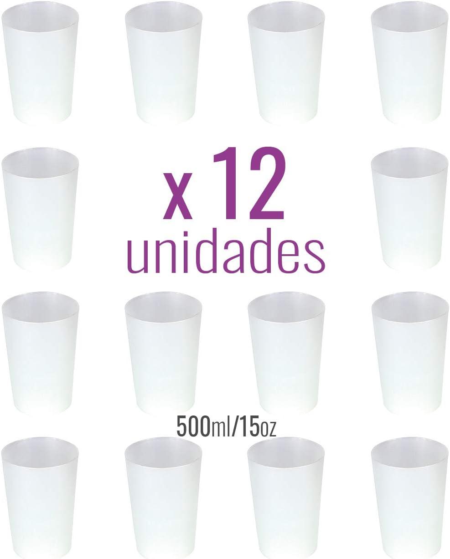 Monteluz - 12 Unidades Vasos de Plástico Duros Irrompibles Reutilizables de Polipropileno - Vasos Grandes Aptos para Agua, Mojitos o Bien Gin Tonic - Ecológicos Sin Bpa - 500ml