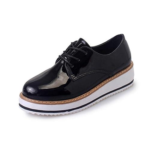 Mocasines de Las Mujeres Pisos Zapatos de Plataforma con Cordones Punta Redonda Conciso de Ocio Oxfords Sólido Calzado Ocasional: Amazon.es: Zapatos y ...