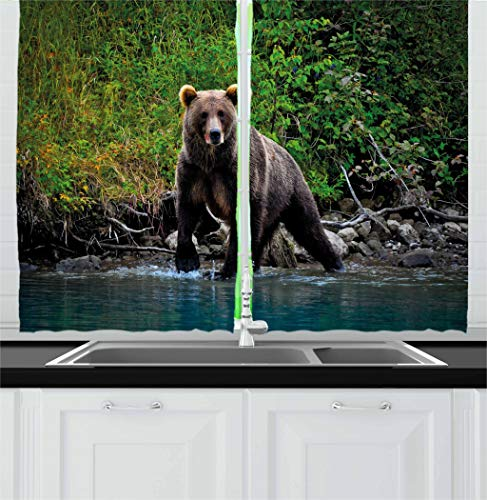 Ambesonne Cabin Decor Kitchen Curtains, Grizzly Brown Bear in Lake Alaska Untouched Forest Jungle Wildlife Image, Window Drapes 2 Panel Set for Kitchen Cafe, 55 W X 39 L Inches, Green Brown Blue