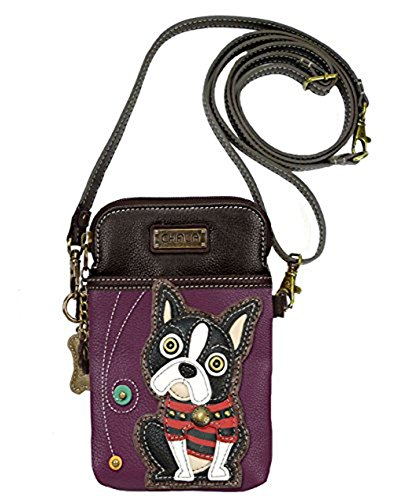Chala Crossbody Cell Phone Purse-Women PU Leather Multicolor Handbag with Adjustable Strap - Boston Terrier - Purple