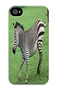 Cute Animals PC White Case For Iphone4 4s - Zebra