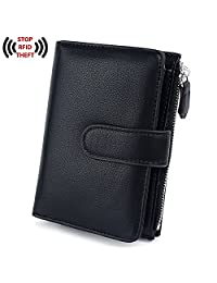 UTO RFID Wallet for Women PU Leather Blocking Tech 15 Card Holder Organizer Zipper Coin Pocket Purse Snap Closure
