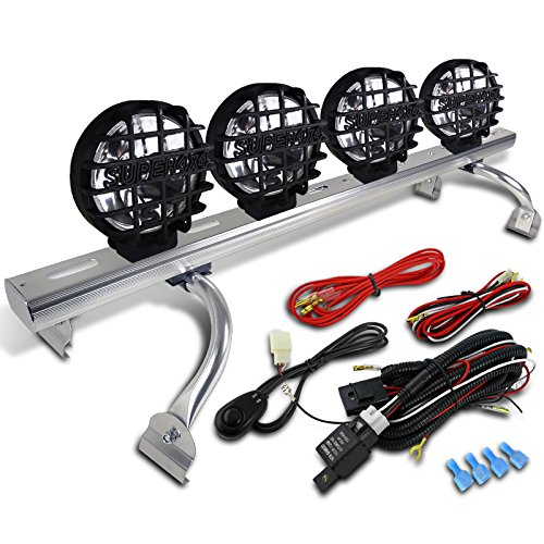 4 Round 4x4 Chrome Clear Fog Lamps w/ Roof Light Bar Rack (Trailblazer Roof Rack compare prices)