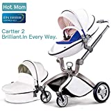 Hot Mom Pushchair 2018, 3 in 1 Baby Stroller Travel System with Bassinet White(Blue)
