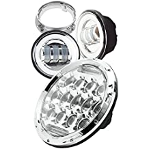 "SABER X Motorcycle Daymaker 7"" Inch Round LED Headlight 75W Chrome For Harley Davision Road Street Electra Glide Ultra Limited & Pair 4.5"" Inch Passing Lamps DRL Fog Lights & Mounting Bracket Ring"