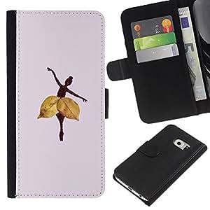 KLONGSHOP // Tirón de la caja Cartera de cuero con ranuras para tarjetas - Hoja del otoño profundo Lila - Samsung Galaxy S6 EDGE //