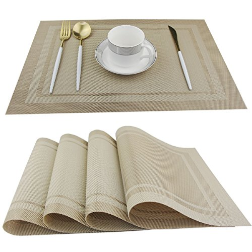 Dinner Place - Bright Dream Placemats Wipe Clean for dinner table Heat-resistand Pvc Placemats Plastic Table Mats Set of 4(Beige)