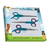 Pet Yogo Grooming Scissors Kit - 3 Round Tip Scissors Includes 1 Thinning Shears, 1 Facial (Face, Ear, Nose, Paw) and 1 Full Body Scissors - Professionally and Easily Groom Your Dogs, Cats and Pets