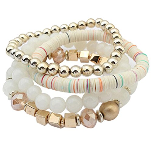 (Funic Women's 4 Pcs Colorful Beads Multilayer Bangle Handmade Bracelet Florid Cool Bracelets (White))