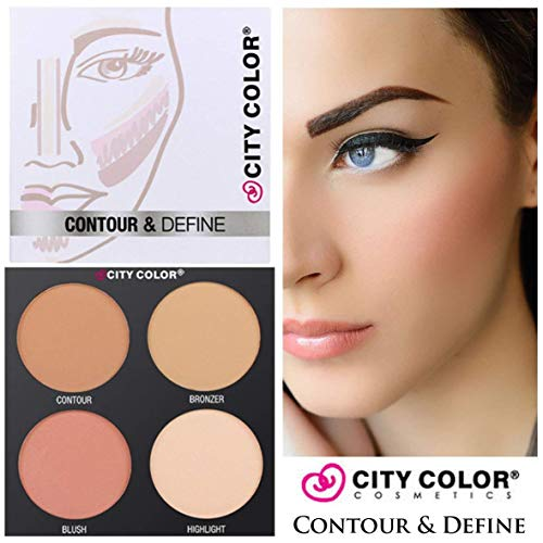 City Color Contour & Define Palette Contouring Kit Bronzer Blush Highlighter