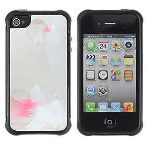 Híbridos estuche rígido plástico de protección con soporte para el Apple iPhone 4 / 4S - modern art paint splash geometrical