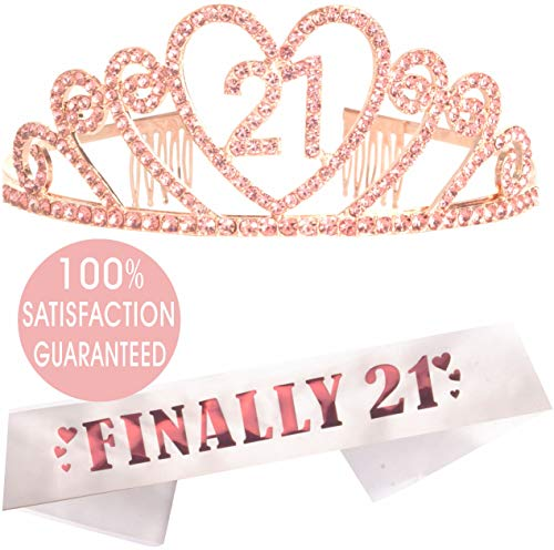 21st Birthday Tiara and Sash Pink, Happy 21st Birthday Party Supplies, Finally 21 Glitter Satin Sash and Crystal Pink Tiara Birthday Crown for 21st Birthday Party Supplies and Decorations