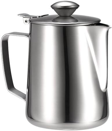 Goege vaso de leche para hacer espuma de espuma jarra cafetera recipiente de acero inoxidable para Espresso máquina para cocinar al vapor café Latte: Amazon.es: Hogar