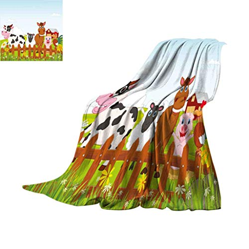 Jatansa Animal Fleece Microfiber Blanket, Cute Farm Creatures with Cow Horse Goat Pig and Chicken by The Fences Kids Cartoon Super Soft Lightweight Blankets for Bed Couch, 70
