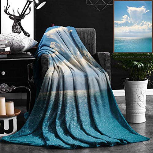 Unique Custom Flannel Blankets White Clouds On Blue Sky Over Calm Sea Sunlight Reflection On Sea Bali Indonesia Sunny Sky With Super Soft Blanketry for Bed Couch, Twin Size 60'' x 80'' by Nalagoo