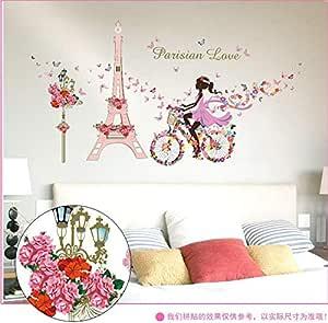 ملصقات تزيينية للجدران بتصميم فتاة جنية تركب على الدراجة وبرج من الفراشات للمقهى وغرفة النوم وغرفة المعيشة قابلة للازالة - F