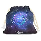 Constellation Zodiac Sign Pisces Velvet Drawstring Gift Bag Wrap Present Pouches Favor for Jewelry, Coin, Holiday, Birthday, Party, 6X8 Inches