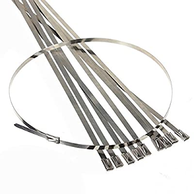 "Ninth-City 10PCS Metal 0.15""X18"" Self Locking Zip Ties Strap Cable for Exhaust Turbo Pipe Insulation Tape Wrap"