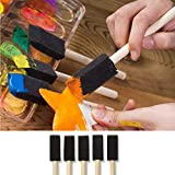 Katzco 10 Pack - Poly Foam Brushes with Wooden