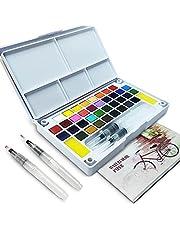 LURICO Professionele aquarelverf, 36 kleuren, set van aquarelkleuren, voor beginners en kunstenaars, inclusief box met aquarel, waterstift en verfmap