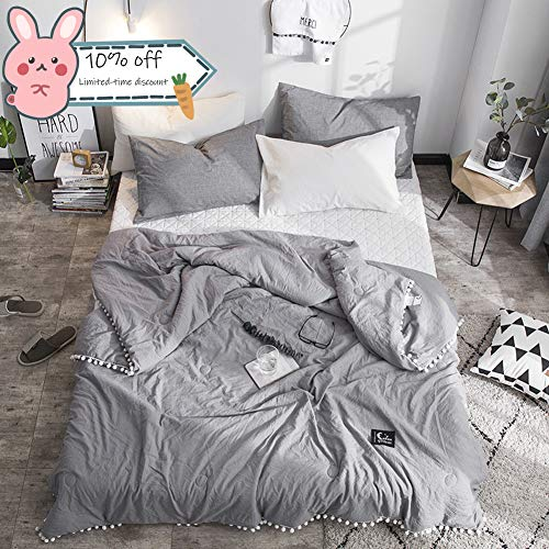 Leadtimes Grey Thin Comforter Kids Quilt Twin Summer Lightweight Soft Cotton Bed Blanket with Pompom Design (Grey, Twin) (Best Quilt For Kids)
