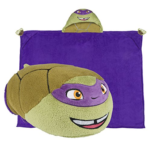 [Teenage Mutant Ninja Turtles Hooded Blanket - Kids Cartoon TMNT Character Blankie that Folds into a Pillow - Great for Boys and Girls - by Comfy Critters] (Cute Inexpensive Halloween Costumes For Kids)