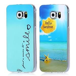 tinxi® Dos Fundas de silicona para Samsung Galaxy S6 Caso de silicona TPU caso de la cubierta de la contraportada de silicona protectora caso bolsa con una sorisa y smile con azul fondo