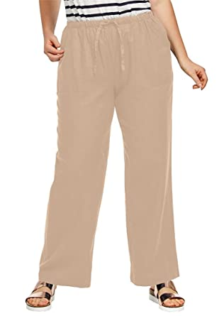 9b88251b9e9 Ellos Women s Plus Size Linen Blend Drawstring Pants at Amazon ...