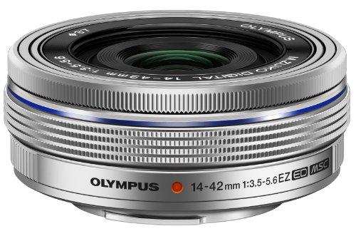 Olympus M.Zuiko Digital ED 14-42mm F3.5-5.6 EZ Lens, for Micro Four Thirds Cameras (Silver)