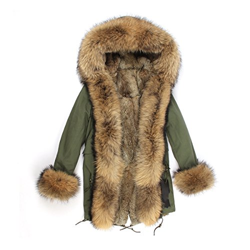 PARKA XXL Kragen aus 100% ECHTPELZ ECHTFELL Jacke Mantel Kaninchen Fütterung