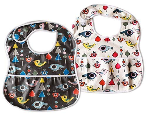 Waterproof Toddler Baby Bibs, 2 Pack Gift Set, Soft Extra Large Feeding Reflux Drool Teething Bibs, Triple Adjustable Snap Buttons, Washable, 6-36 Months, Boys and Girls
