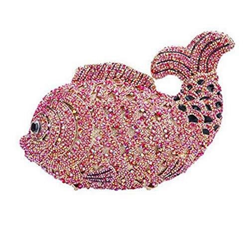 pesce Sacchetti da Borsa incrociata sera da di di donna sontuosi Ab Rosso con argento pochette colore pesce ItRvRqr