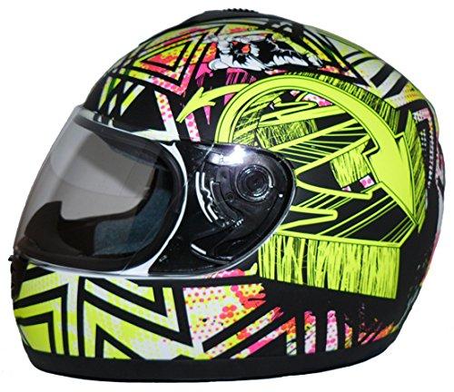 Protectwear Motorradhelm, Integralhelm, Matt Gelb/Weiß/Schwarzes Muster, L