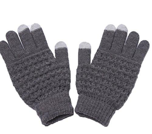 Touch Screen Gloves Unisex Wool Warm gloves ( Grey) - 7