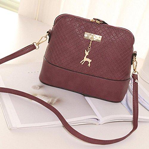 Wine Duffel Rose - LtrottedJ Women Messenger Bags Fashion Mini Bag,Deer Toy Shell Shape Bag Shoulder Bags (Wine)