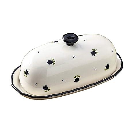 Amazon.com: Lonovel - Mantequera con tapa de porcelana y ...